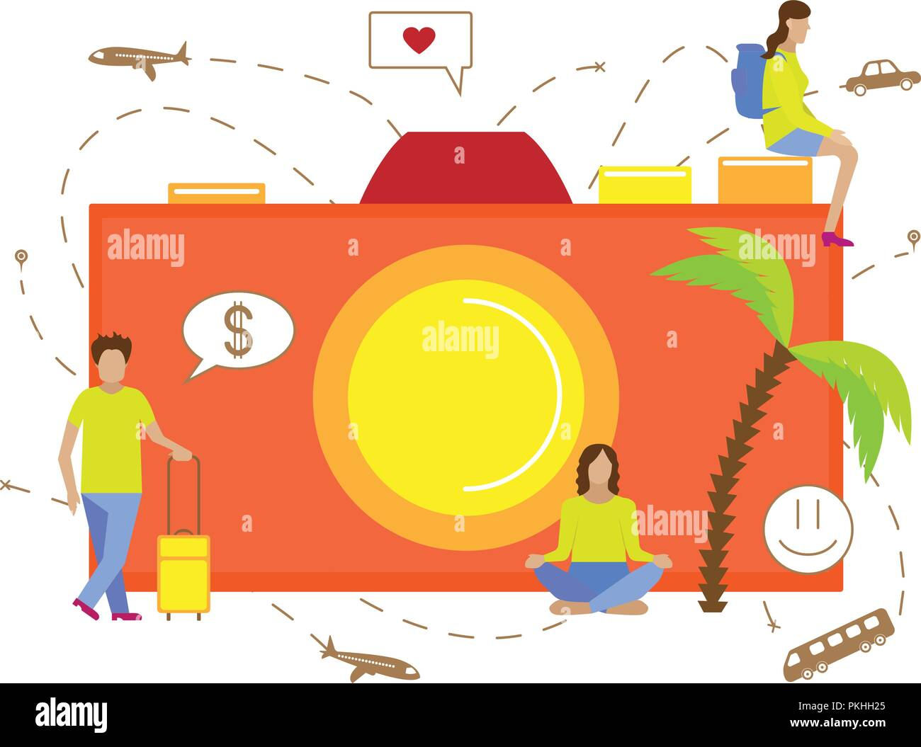 Vector illustration for tourism. Small men travelling with camera. - Stock Vector