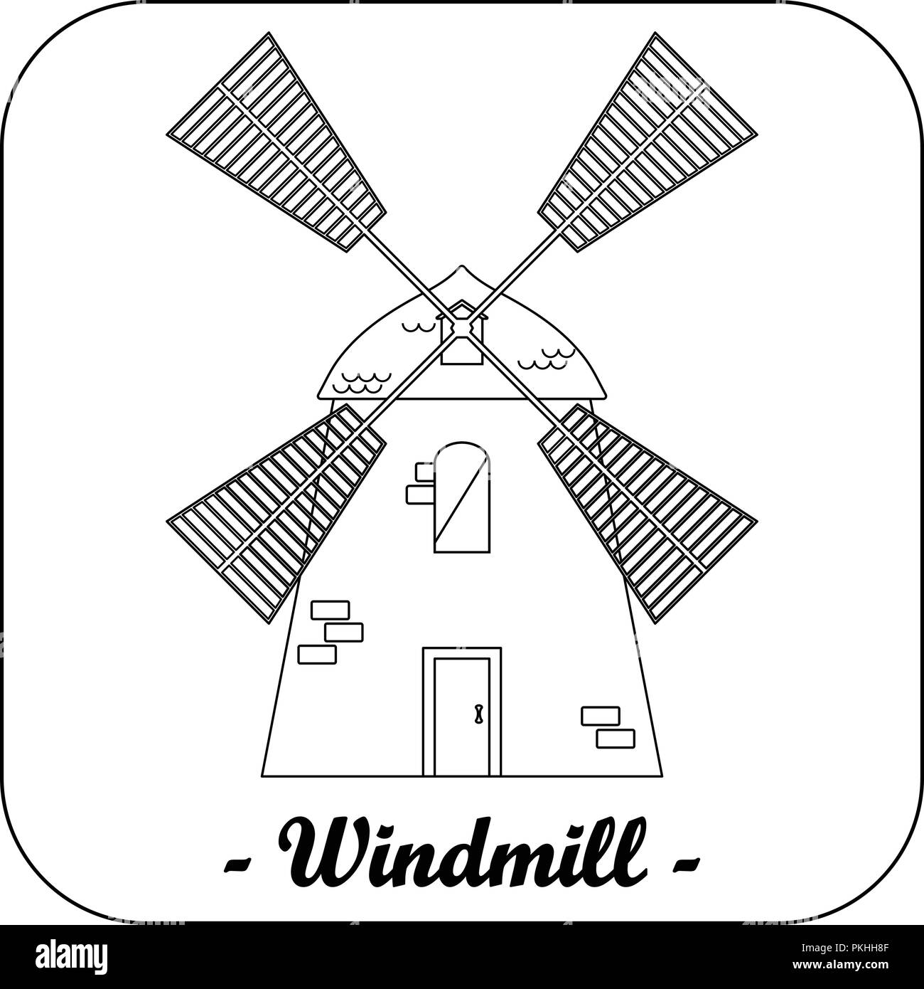 Illustration with a windmill. - Stock Vector