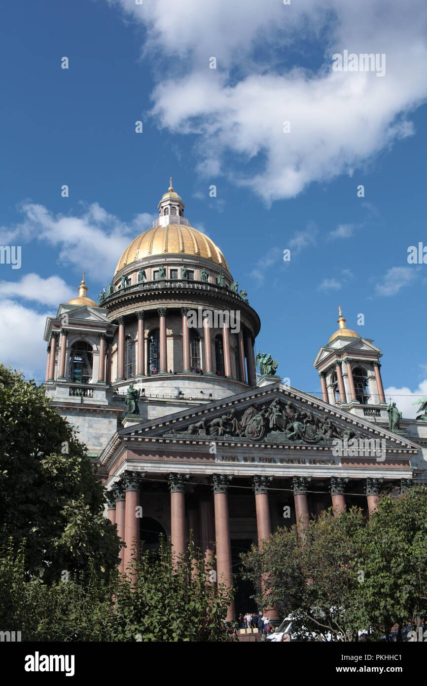 St. Petersburg, Russia, 10 September 2018 St. Isaac's Cathedral low angle of view - Stock Image