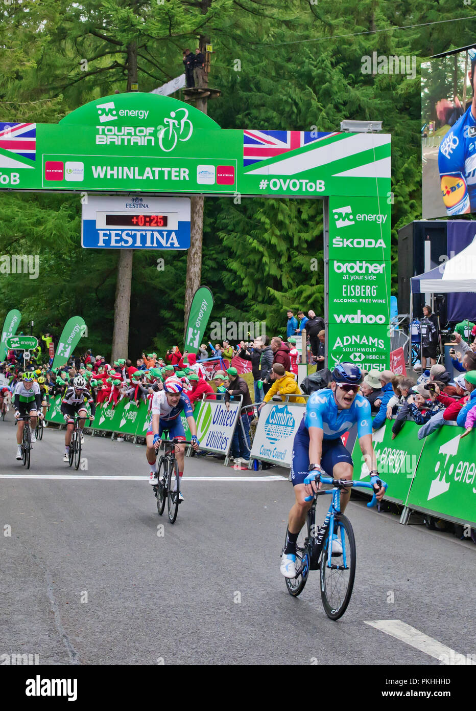 Finish of Stage 6 Tour of Britain Whinlatter 7 September 2018, Jasha Sutterlin 10th, Ethan Hayter 11th, Christopher Hamilton 12th, Scott Davies 13th. - Stock Image