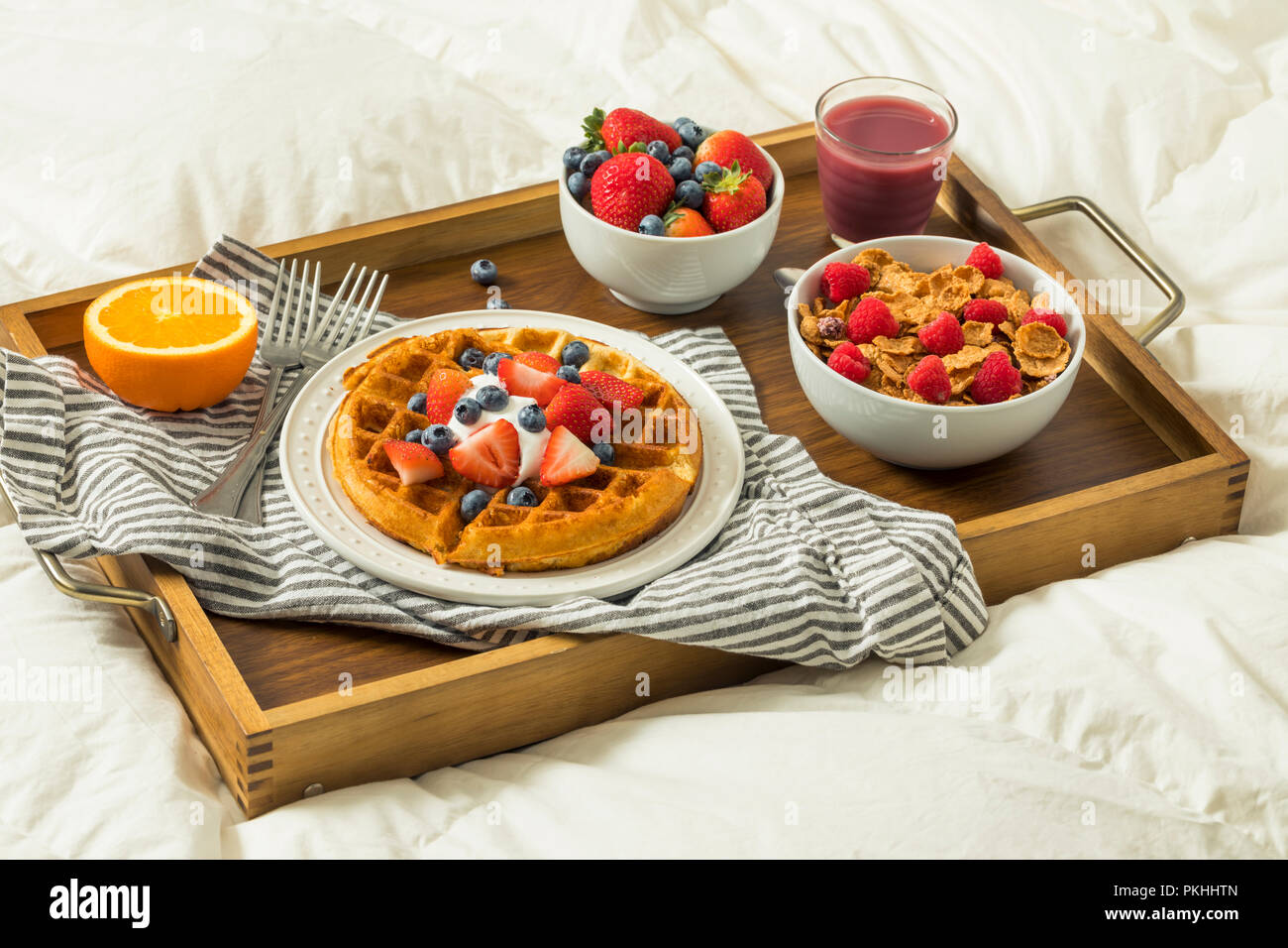 Healthy Homemade Breakfast In Bed With Waffles Fruit Cereal Stock Photo Alamy