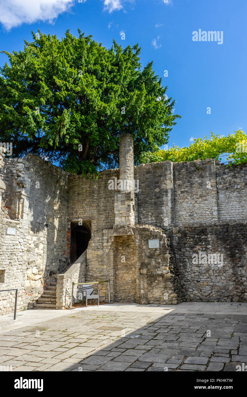 King John's Palace, a ruined Norman merchant's house located within the historic Old Town Walls in Southampton, Old Town, England, UK - Stock Image