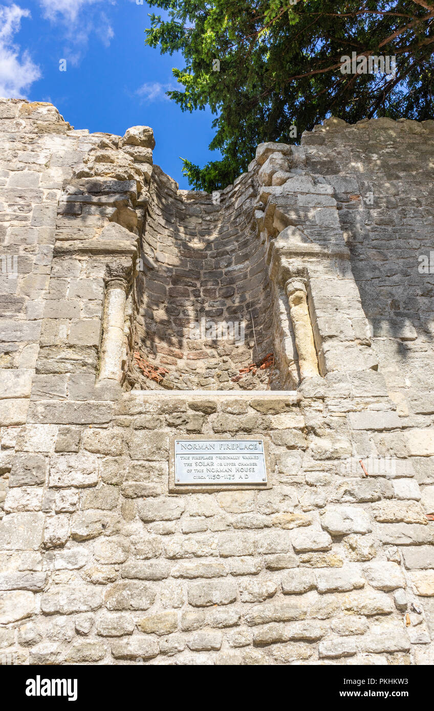 Norman Fire place in King John's Palace, a ruined Norman merchant's house located within the Old Town Walls in Southampton, Old Town, England, UK - Stock Image