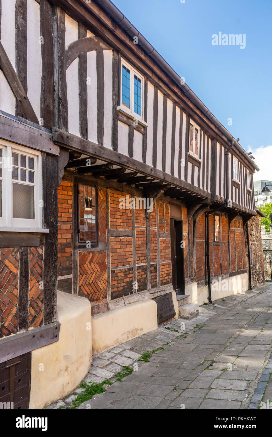 Facade of the Tudor House Museum along Blue Anchor Lane in Southampton, Hampshire, England, UK - Stock Image