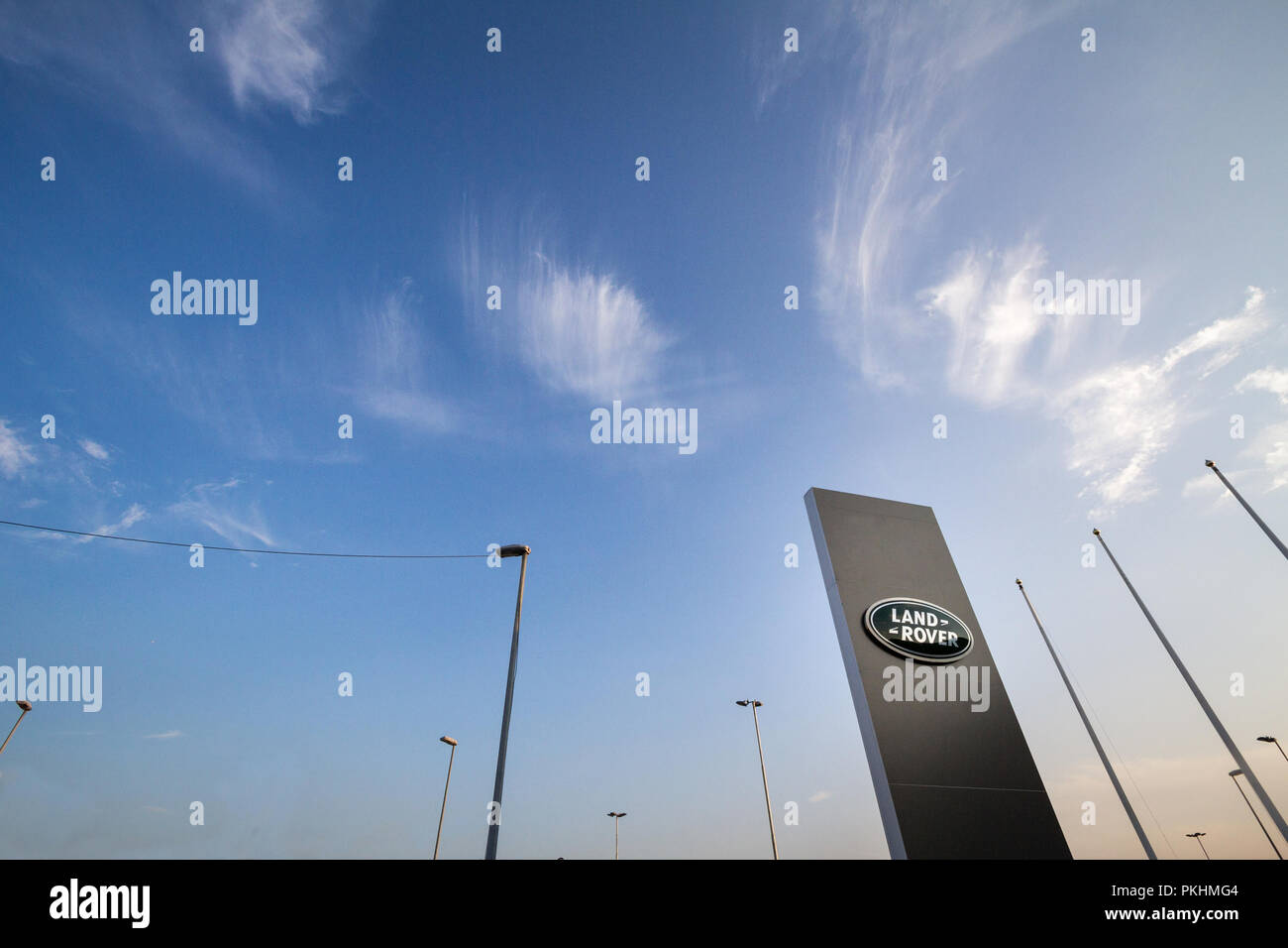 BELGRADE, SERBIA - SEPTEMBER 7, 2018: Land Rover logo on their main dealership store in Belgrade. Land Rover is a British car manufacturer, specialize - Stock Image