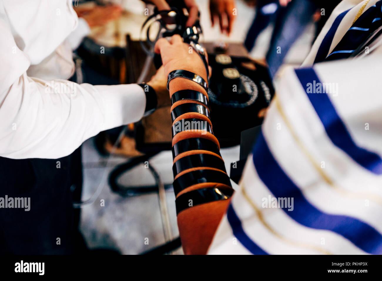 Jewish rituals before holidays. Rosh Hashana, Yom Kipur, Sukot.  Tfilin. - Stock Image