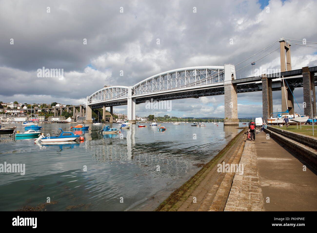 Plymouth, Devon, UK. 13th September, 2018. The Royal Albert and Tamar bridges spanning the River Tamar between Cornwall and Devon. The Royal Albert Br Stock Photo