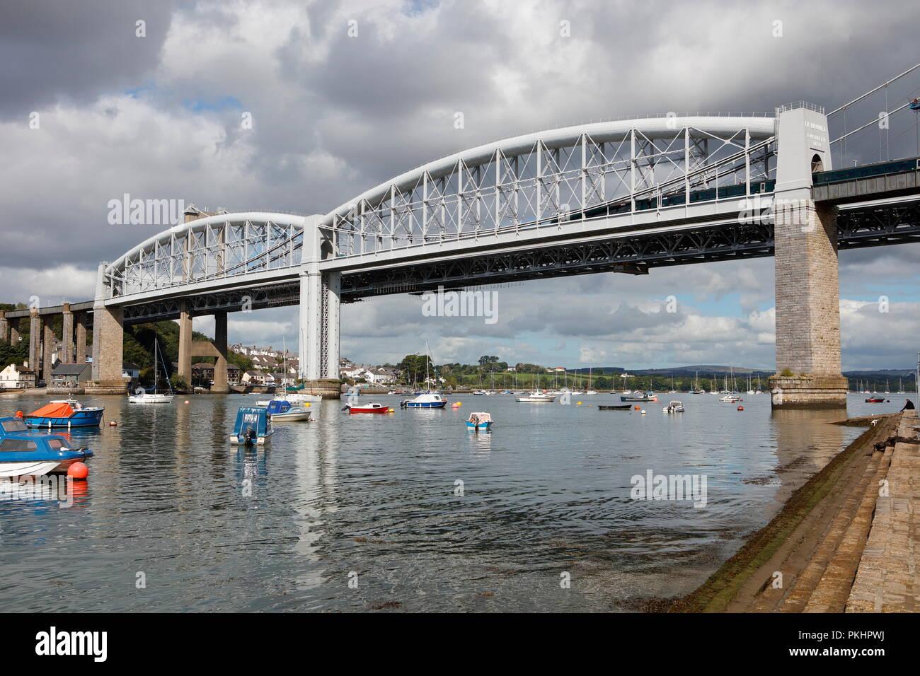 Plymouth, Devon, UK. 13th September, 2018. The Royal Albert and Tamar bridges spanning the River Tamar between Cornwall and Devon. The Royal Albert Br Stock Photo