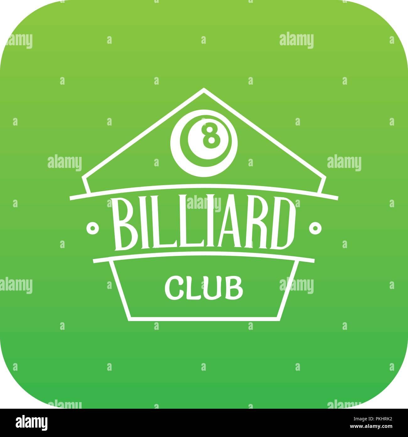 Billiard icon green vector - Stock Image