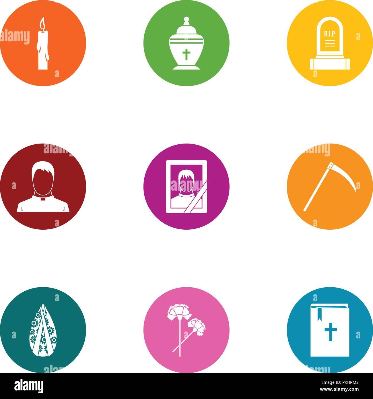 Death border icons set, flat style - Stock Image