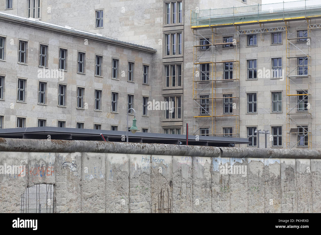 Death Strip wall barrier separating Berlin into east and west - Stock Image