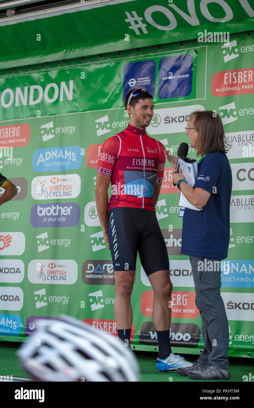 Tour of Britain 2018,London,GB. Interviewing Alex Paton, leader of the Eisberg sprints classification, before the race, assessing his chances in stage - Stock Image