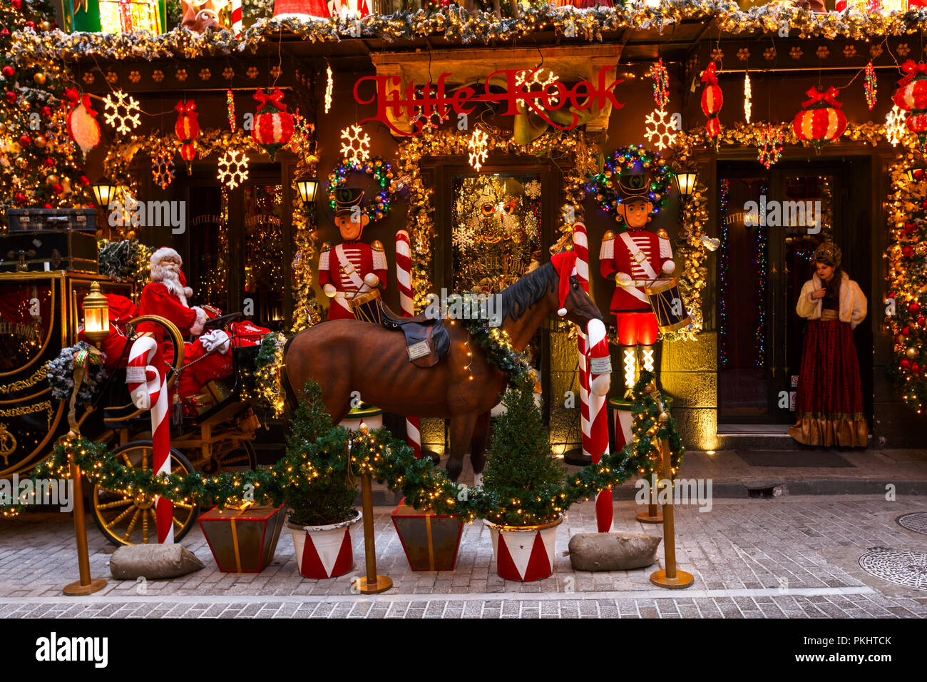 Athens, Greece - January 9, 2018: Little Kook, a famous patisserie with Christmas decoration in Psirri neighbourhood in central Athens. - Stock Image
