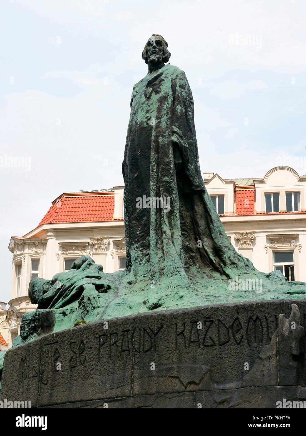 Czech Republic. Prague.  Old Town Square. Jan Hus Memorial, reformer and redecessor to Protestatism (1369-1415). Sculptural group designed by Ladislav Saloun (1870-1946), 1901-1915. Detail. Art Nouveau period. - Stock Image