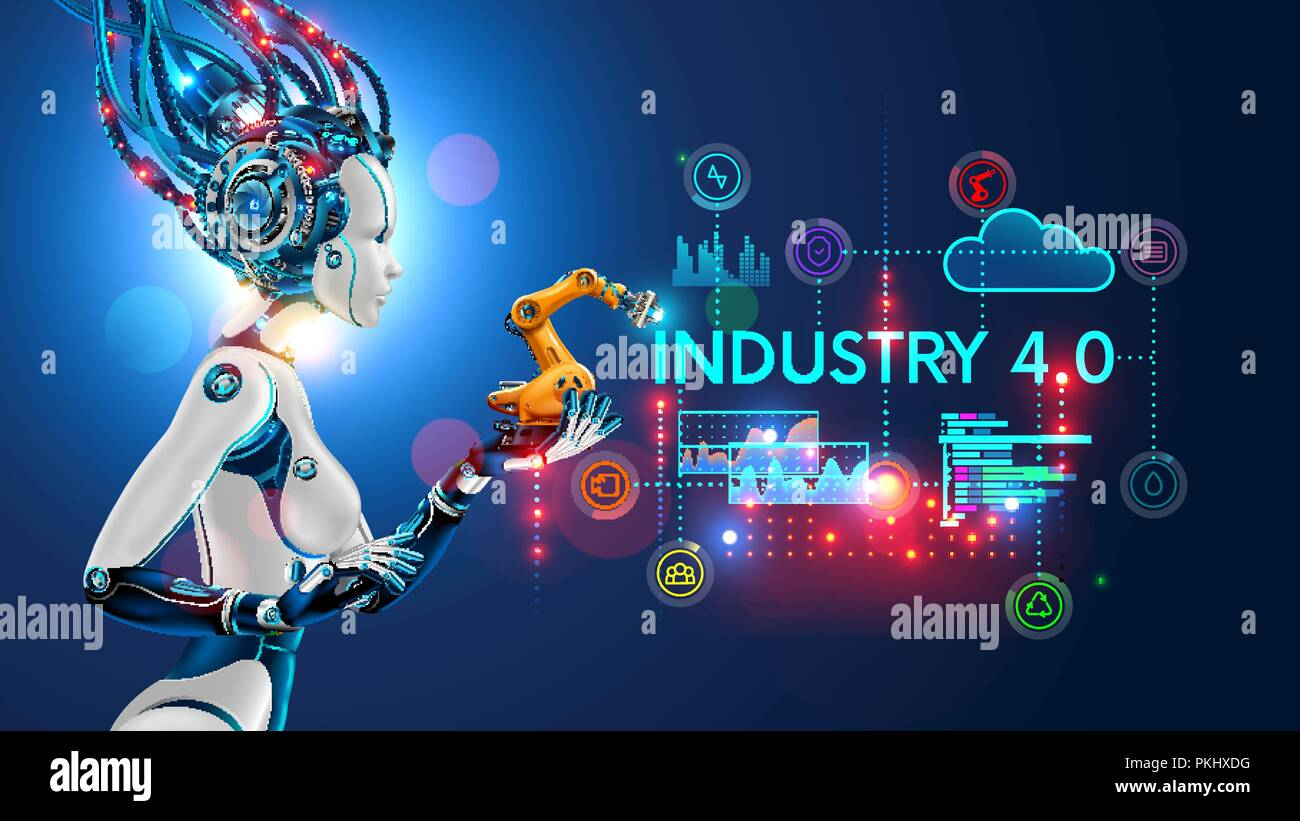 Concept Industry 4.0. Artificial intelligence automation of product manufacturing on smart factory. Ai uses intellectual management of industrial processes. Robot woman holding in palm a robotic arm Stock Vector