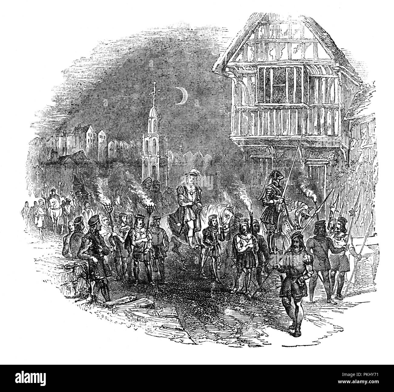 The Grand March, part of the Medieval Watch of Midsummers Eve. The march comprised some 2,000 men, both mounted and on foot, comprising of gunners, archers, pike men. They were followed by the Constables of the Watch in full armour, accompanied by minstrels and morris dancers, and finally the mayor. It was cancelled by King Henry VIII and the saved cost of the pageant put towrds the watchmen. - Stock Image