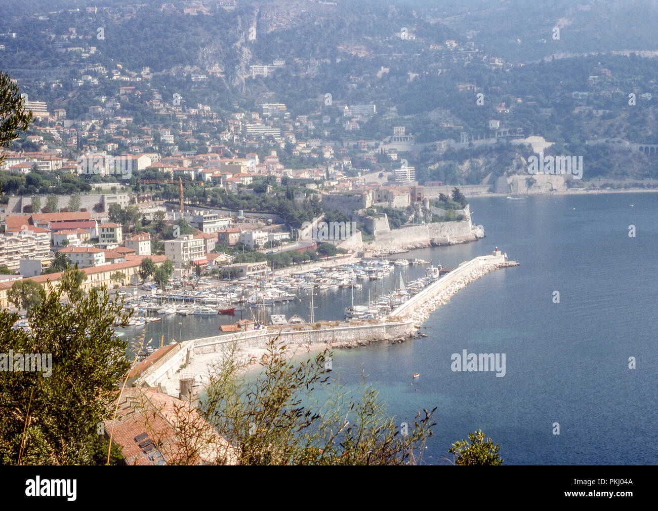 Villefranche-sur-Mer, on the French Riviera taken in August 1975 on 35mm colour slide film. - Stock Image