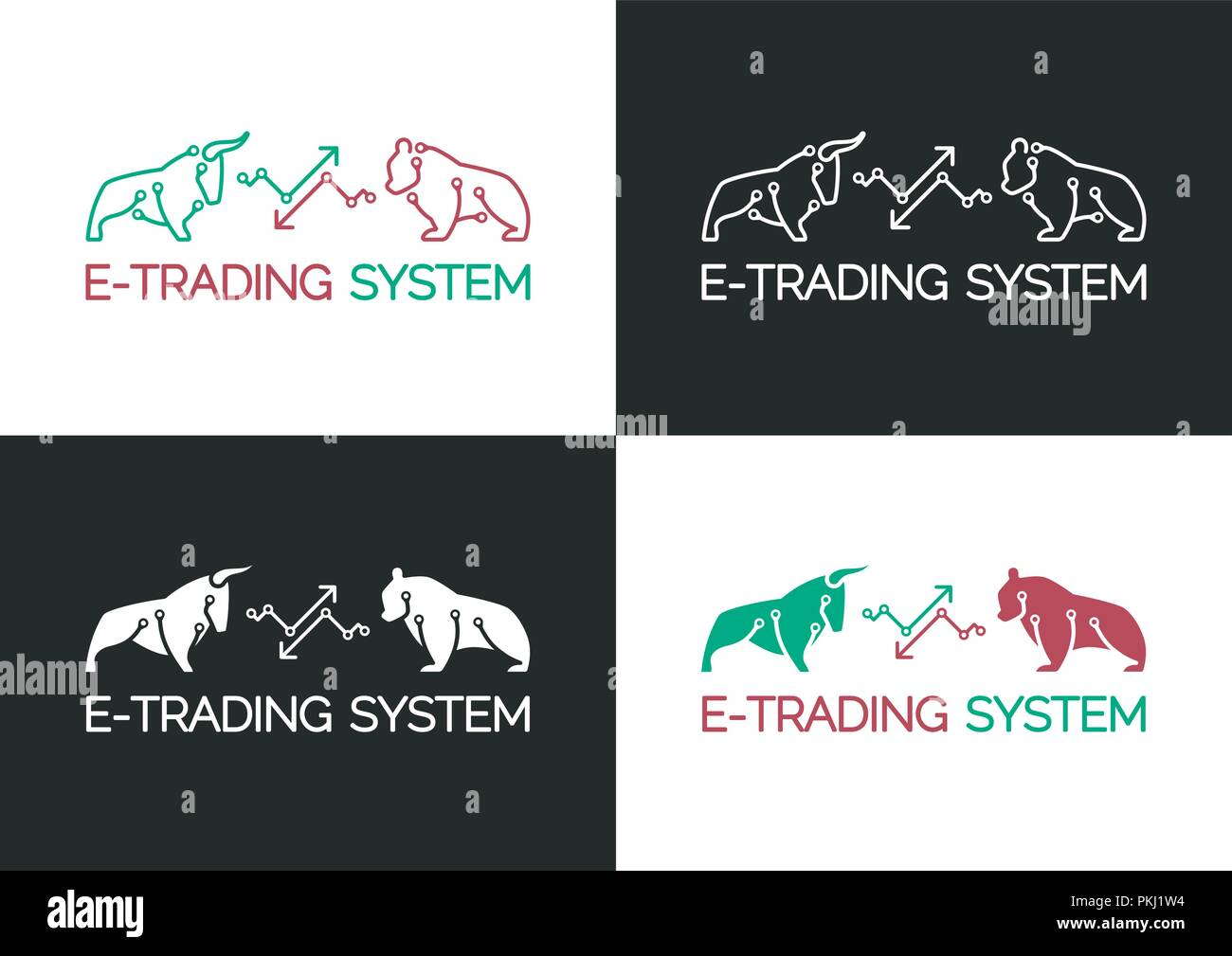 E-Trading System Emblem - Stock Vector
