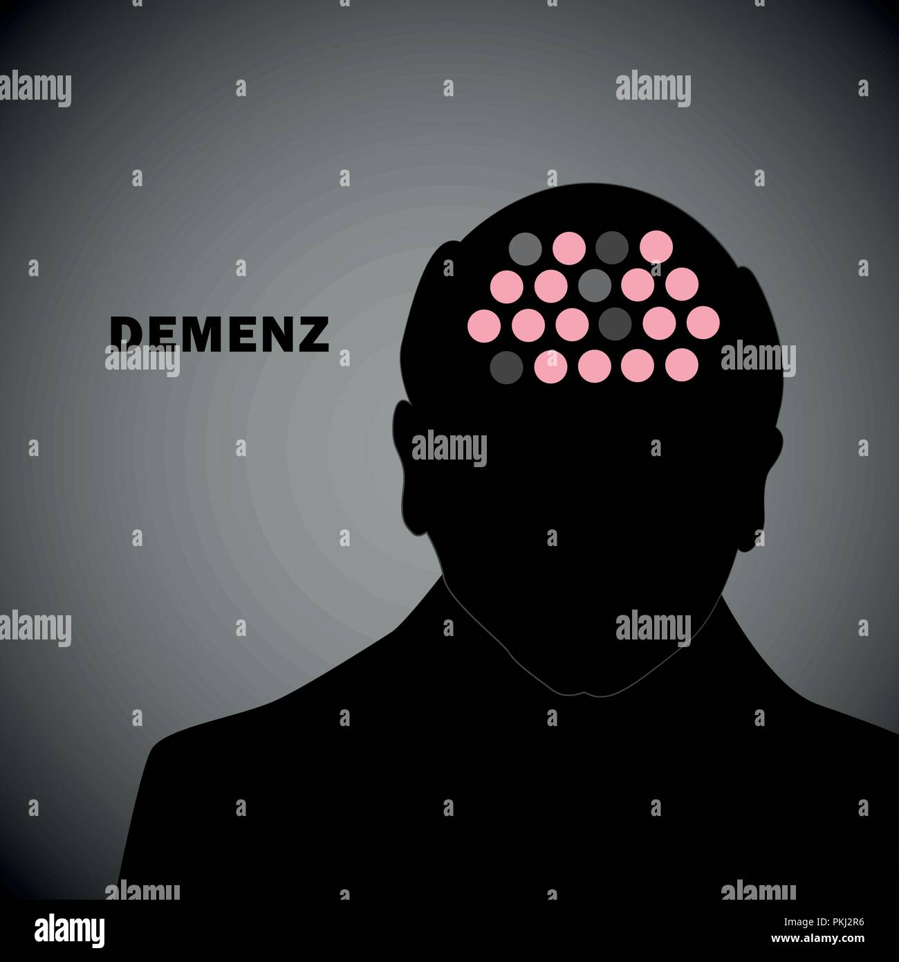 old man silhouette human head with dementia vector illustration EPS10 - Stock Image
