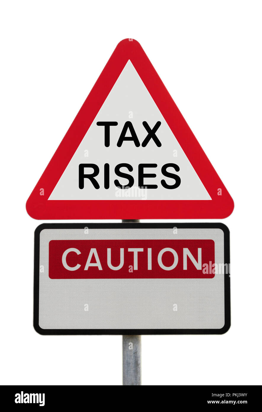 Triangular road sign warning Caution TAX RISES to illustrate financial future concept. England, UK, Britain, Europe Stock Photo