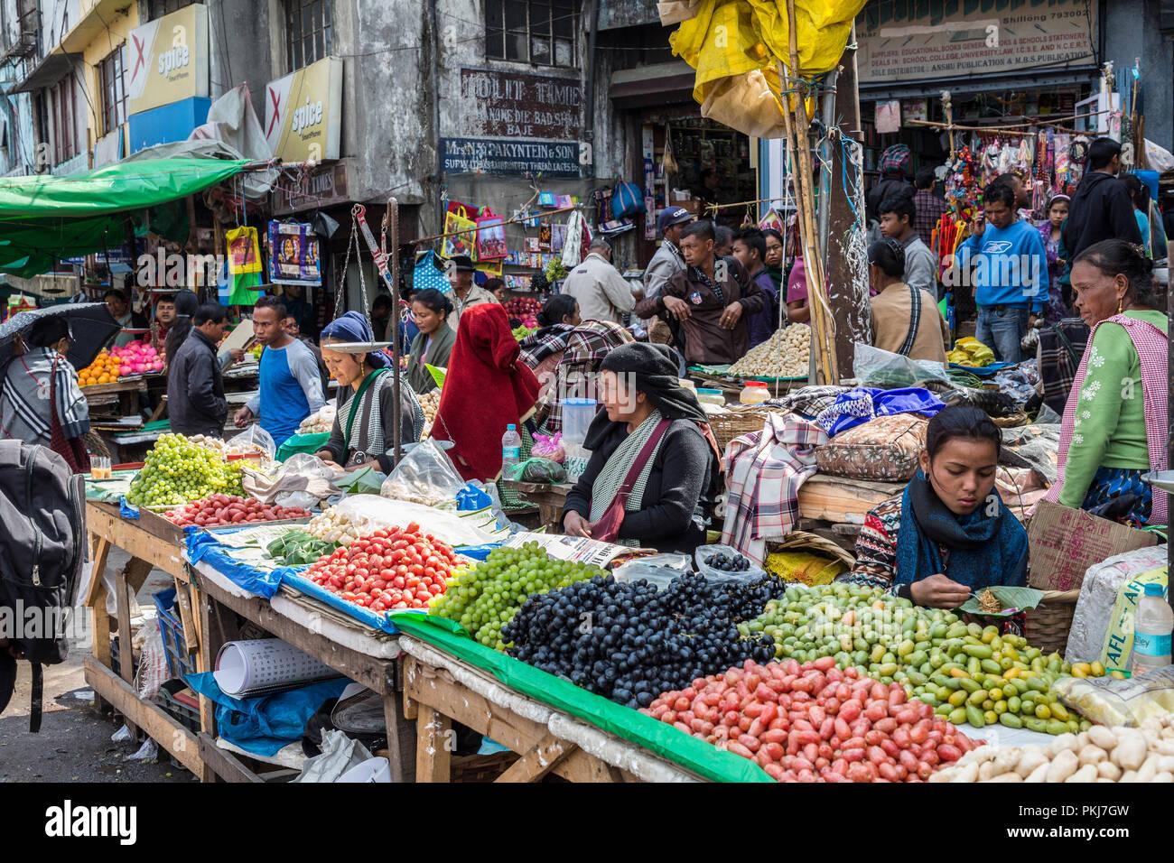 Busy street market selling produce, Shillong, Meghalaya, India - Stock Image