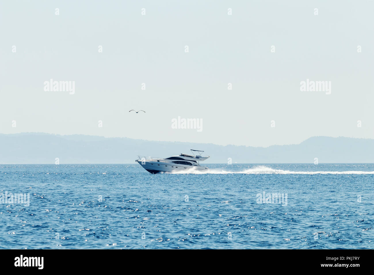 Luxury motor boat cruising in blue sea, Summer vacation - Stock Image