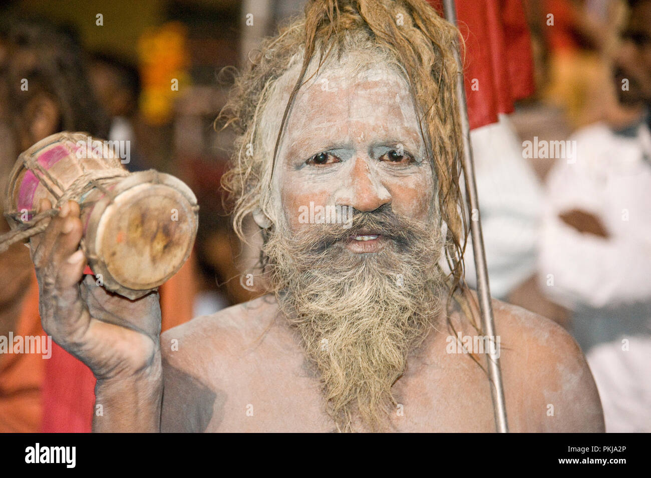 Portrait of a Naga Sadhu holy man at nashik maharashtra India - Stock Image