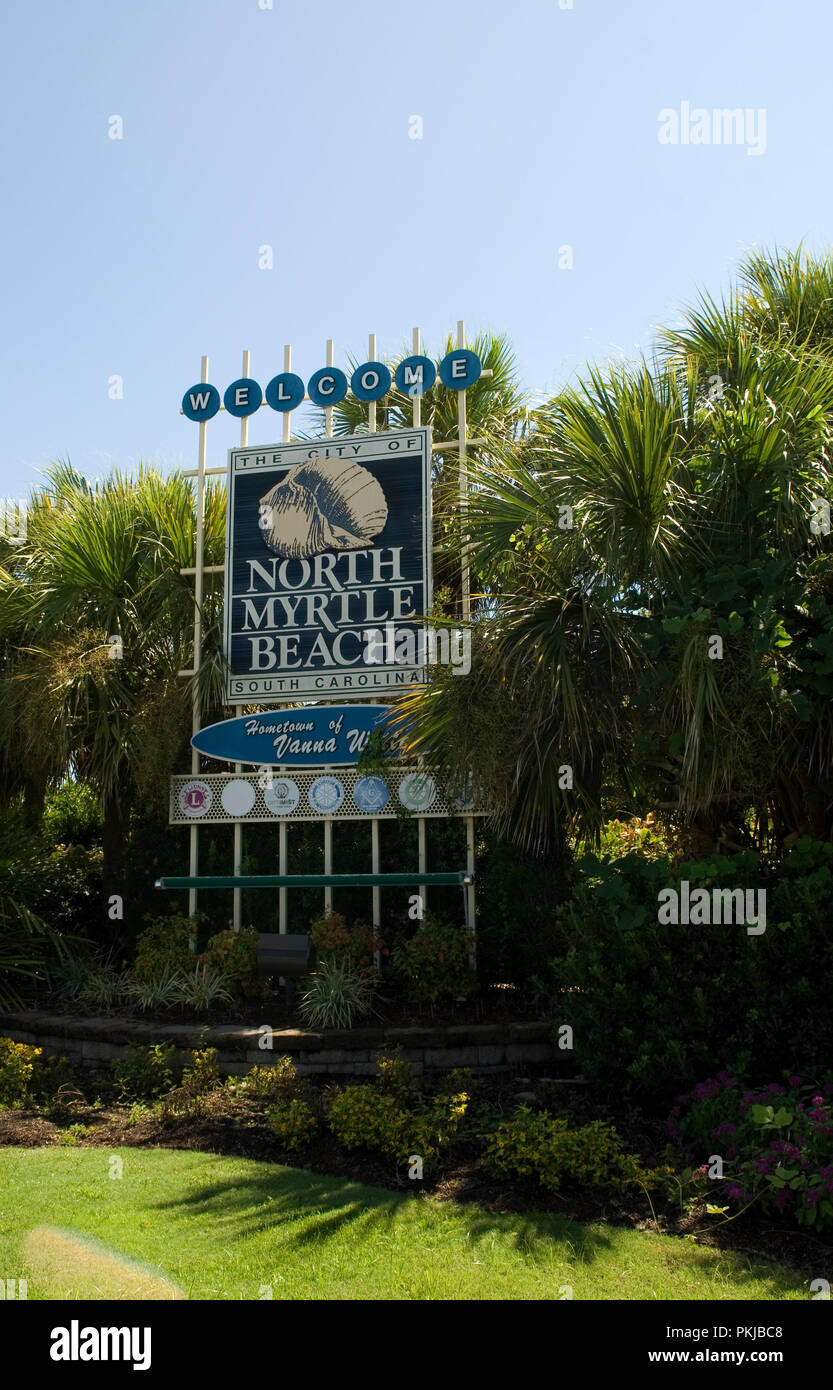 North Myrtle Beach Welcome Sign South Carolina USA - Stock Image