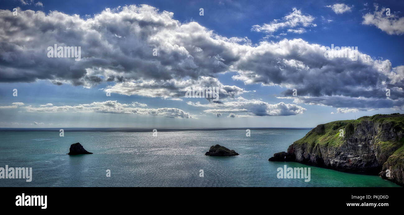 GB - DEVONSHIRE: Panoramic view of the English Channel seen from Barry Head near Brixham (HDR-Image) Stock Photo