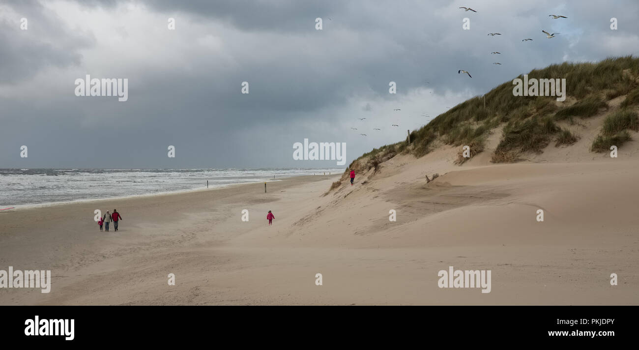 Cloudy day on almost deserted beach, Saturday 14 May 2016, Texel, the Netherlands. Stock Photo