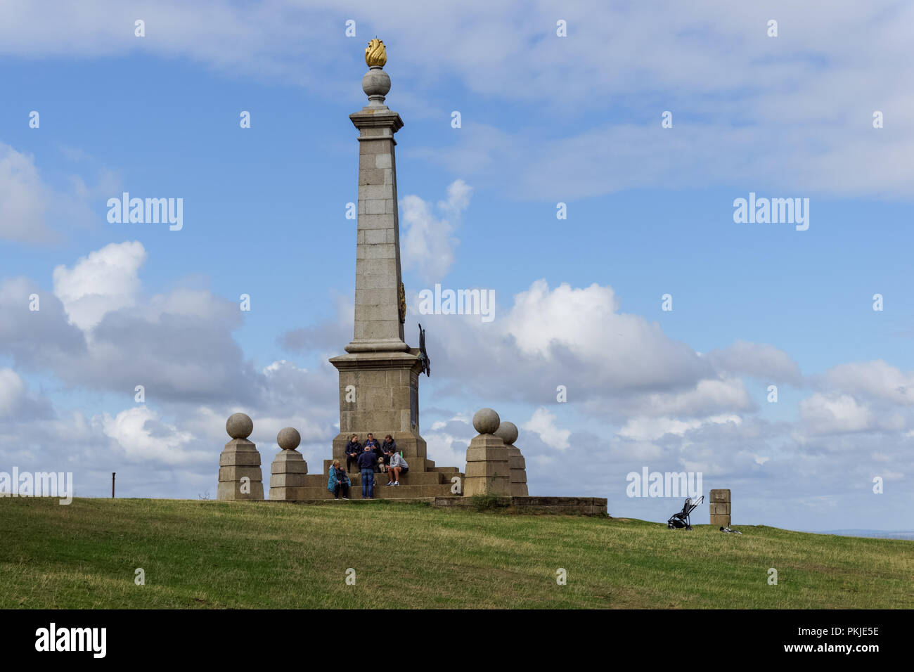 The monument on Coombe Hill in The Chilterns Buckinghamshire, England United Kingdom UK - Stock Image