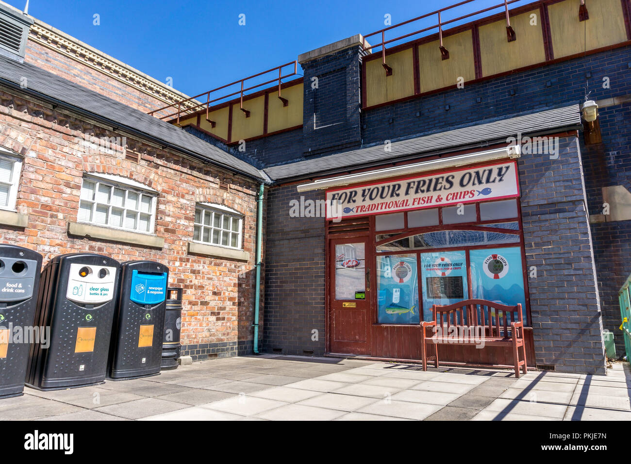 For your fries only, fish and chip shop, Rosamund Street, Coronation Street, The Studios from dock10, MediaCity UK, Salford M50 2EQ - Stock Image