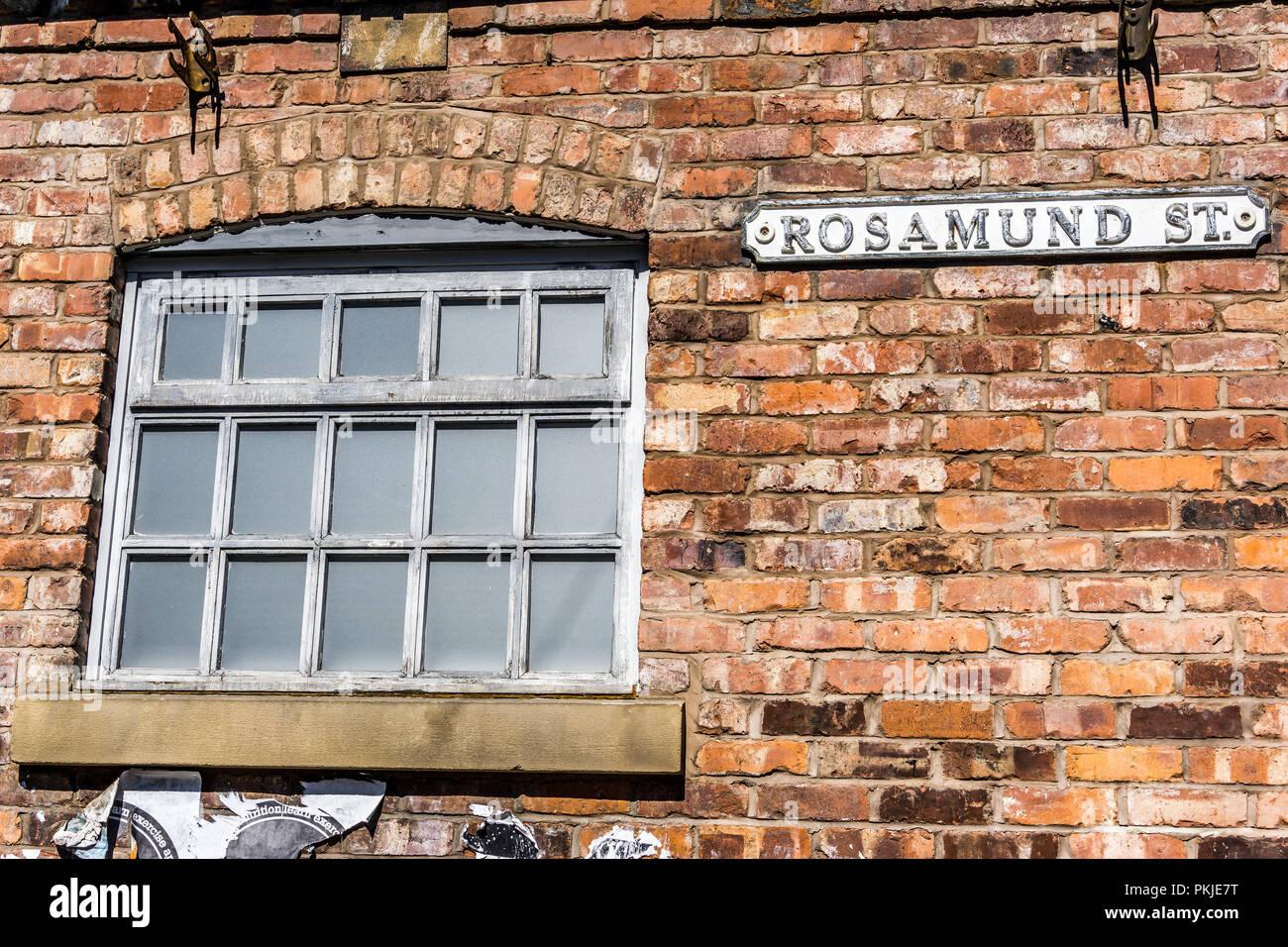 Rosamund Street, Coronation Street, The Studios from dock10, MediaCity UK, Salford M50 2EQ Stock Photo