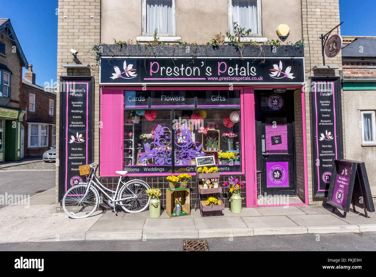 prestons petals, Rosamund Street, Coronation Street, The Studios from dock10, MediaCity UK, Salford M50 2EQ - Stock Image