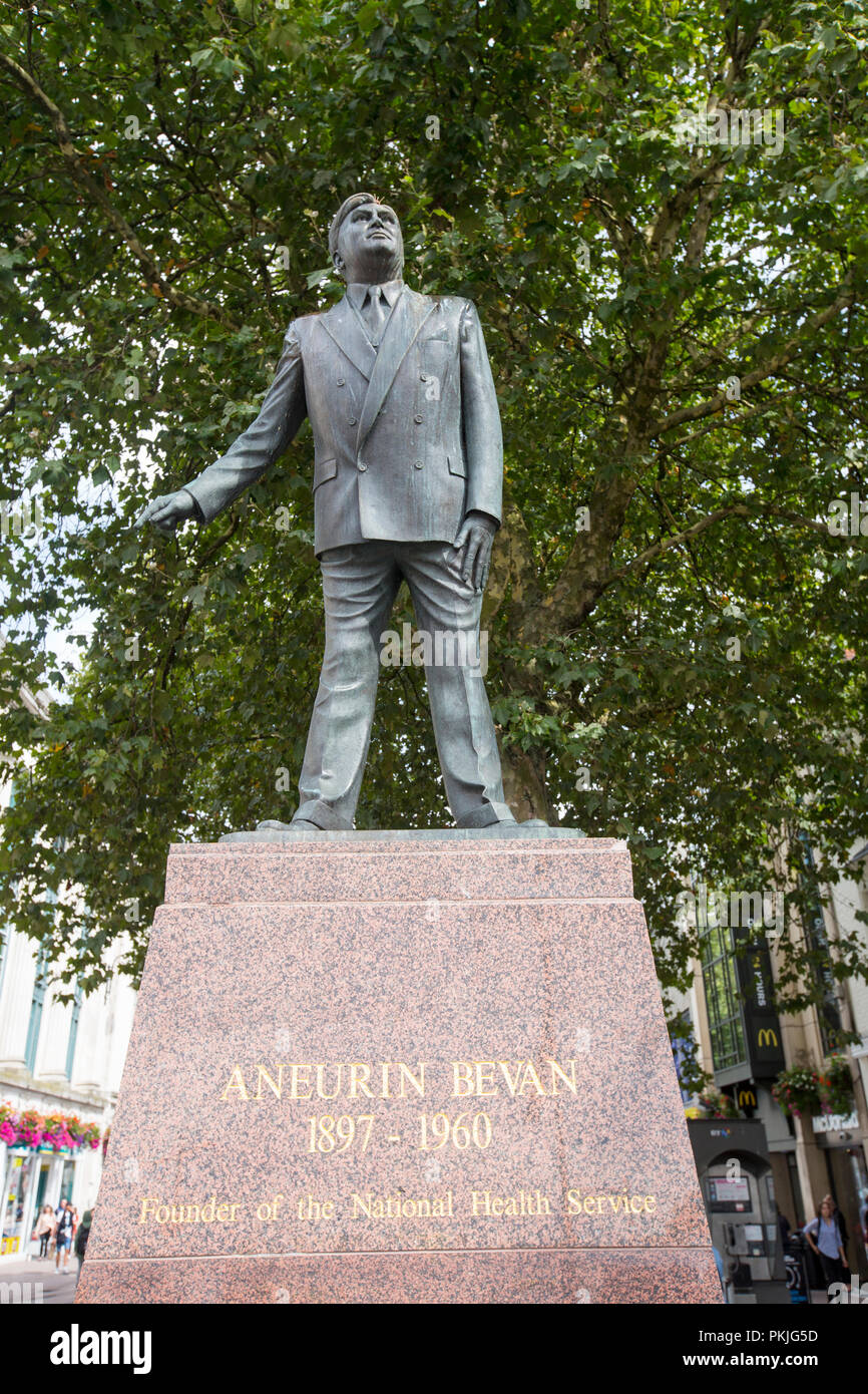 A statue of Aneurin Bevan, founder of the NHS in Cardiff, Wales, UK. Stock Photo
