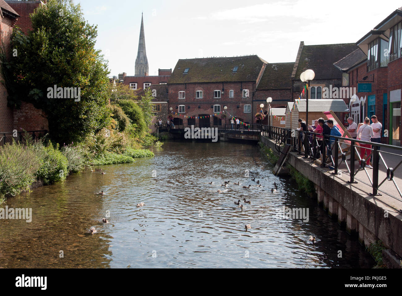 River Avon and old watermill commercial area opens after the Skripal novichok tragedy, Salisbury, Wiltshire, England - Stock Image