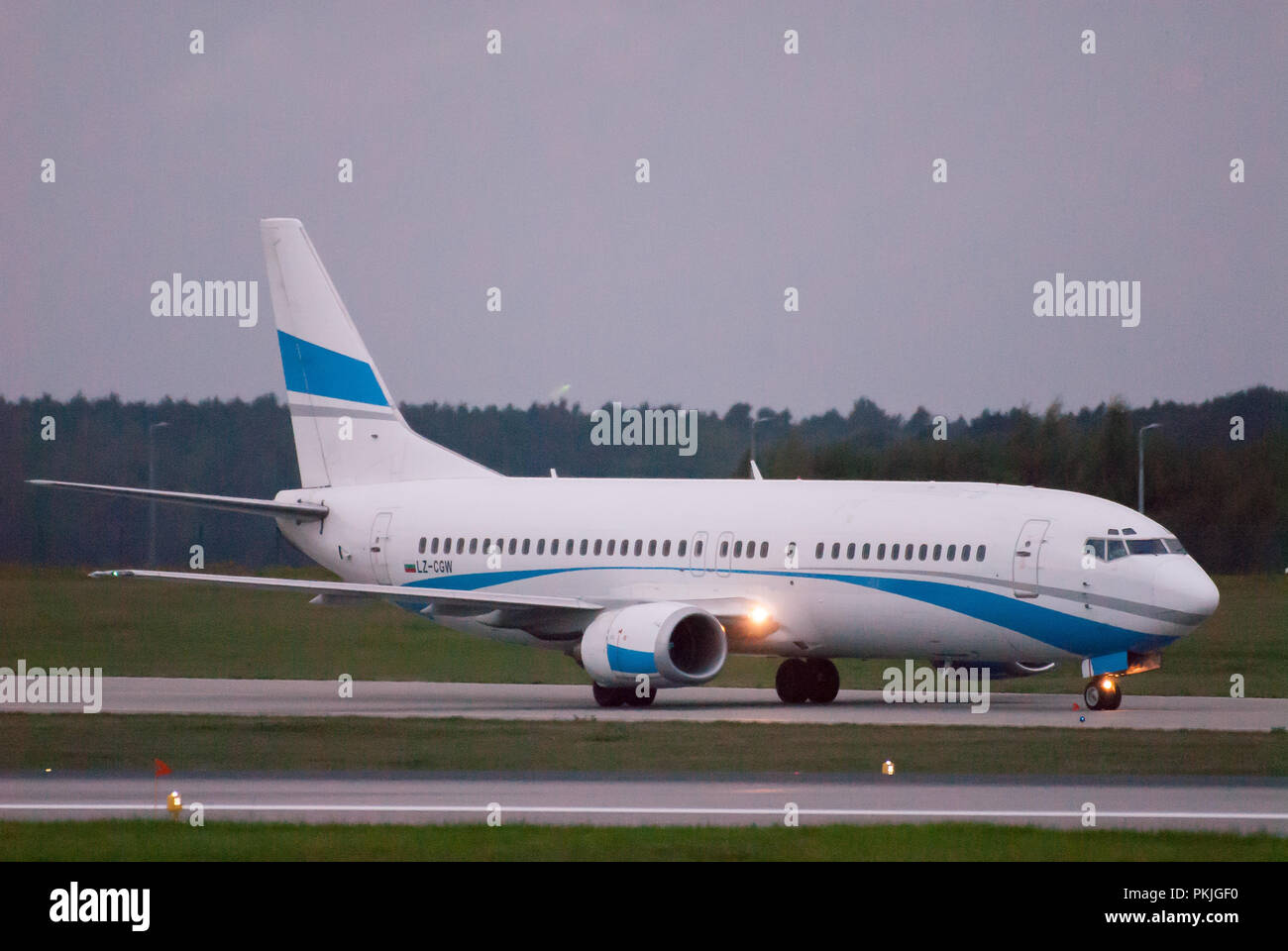 Bulgarian Cargo Air Boeing 737-400 in Gdansk Lech Walesa Airport in Gdansk, Poland. September 12th 2018 © Wojciech Strozyk / Alamy Stock Photo - Stock Image