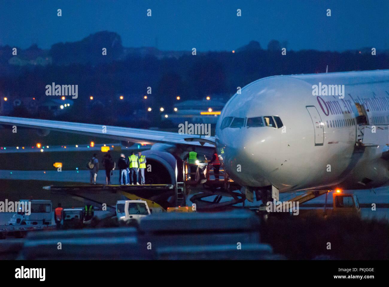 Charter Omni Air International Boeing 777-2U8(ER) in Gdansk Lech Walesa Airport in Gdansk, Poland. September 12th 2018 © Wojciech Strozyk / Alamy Stoc - Stock Image