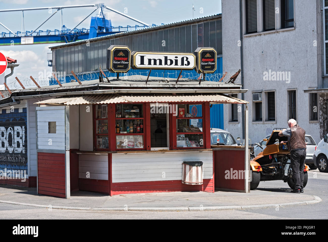 food stand in the east harbor frankfurt am main, hesse, germany. - Stock Image