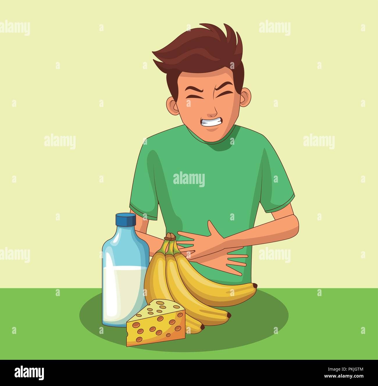 Young with stomach ache - Stock Vector
