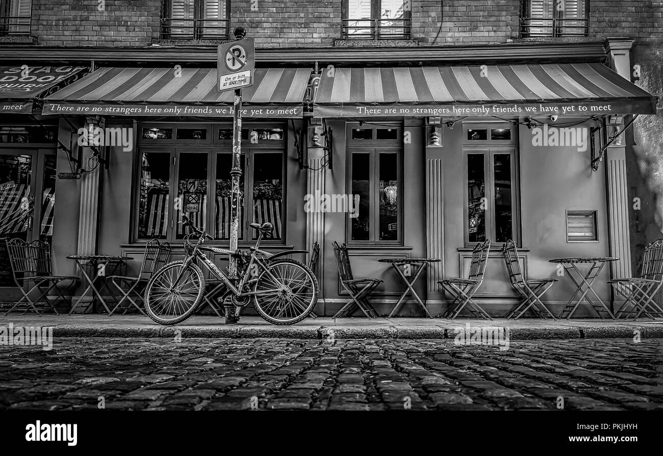 Dublin, Ireland, March 2018, terrace of The Stage Door Cafe - Stock Image
