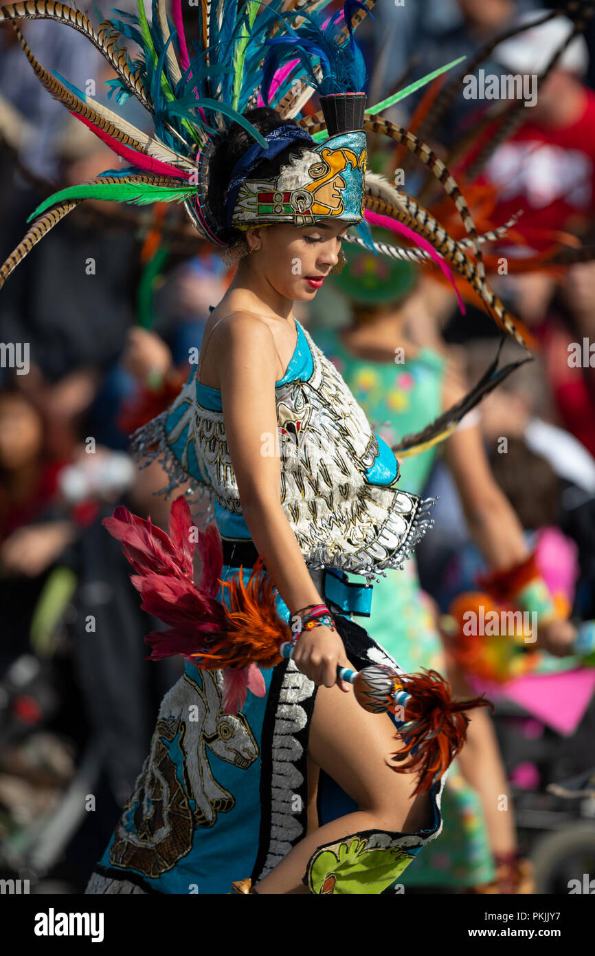 Milwaukee, Wisconsin, USA - September 8, 2018 The Indian Summer Festival: Men women and children members of the Dance Academy of Mexico performing Azt - Stock Image