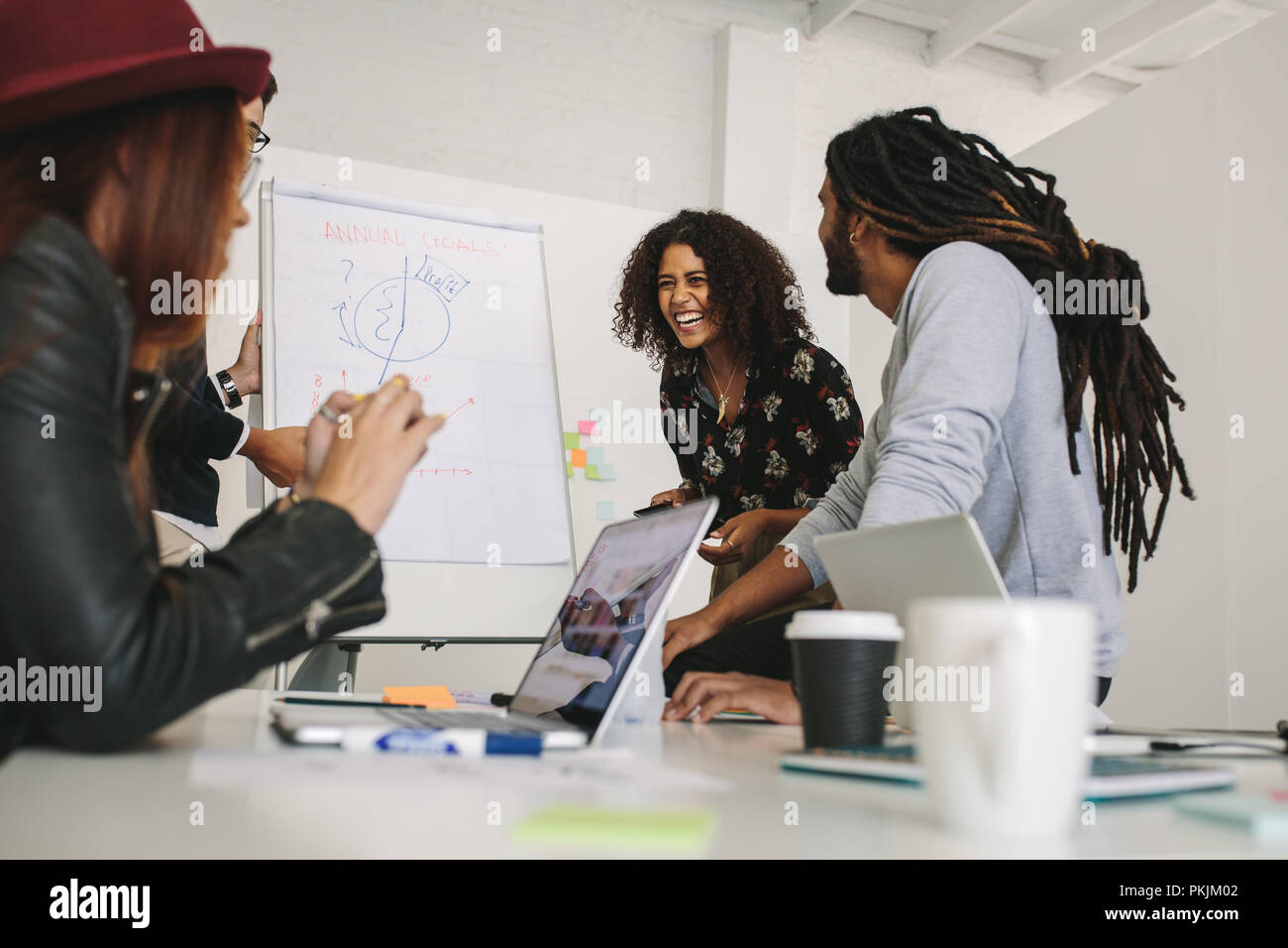Business colleagues having fun during a meeting in office. Entrepreneurs discussing business plans on a flip chart board in meeting room. - Stock Image