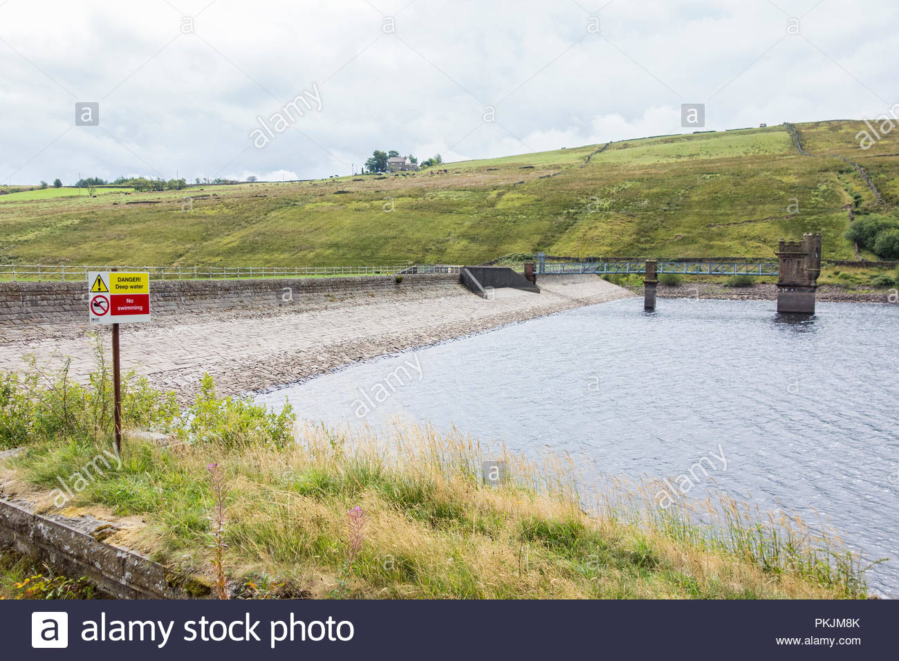 Very low water levels in the drought of the summer of 2018 at the Ogden Reservoirs near Barley in Lancashire, managed by United Utilities - Stock Image