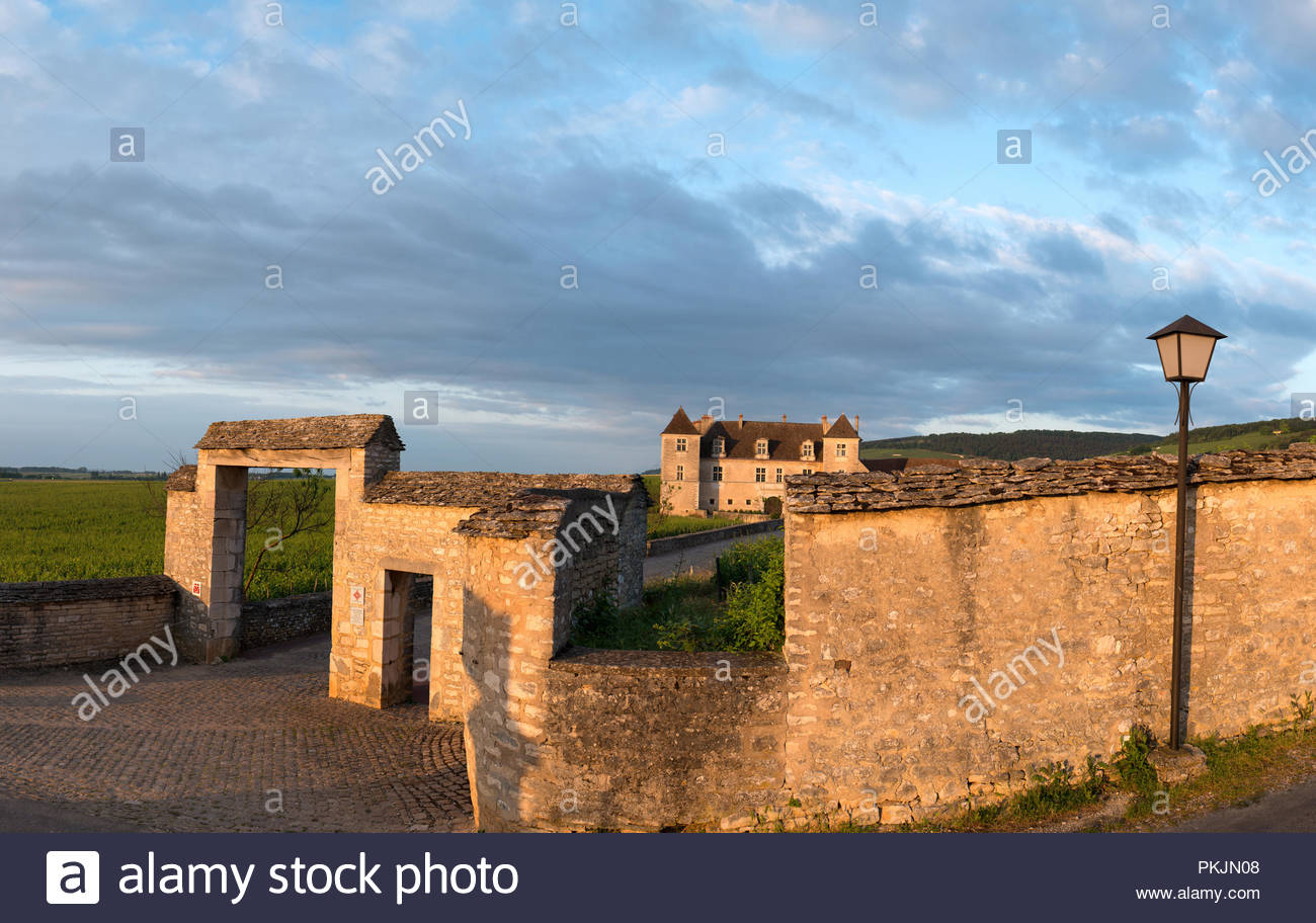 Clos Vougeot (Burgundy, central eastern France): the castle and the prestigious wine-growing property - Stock Image