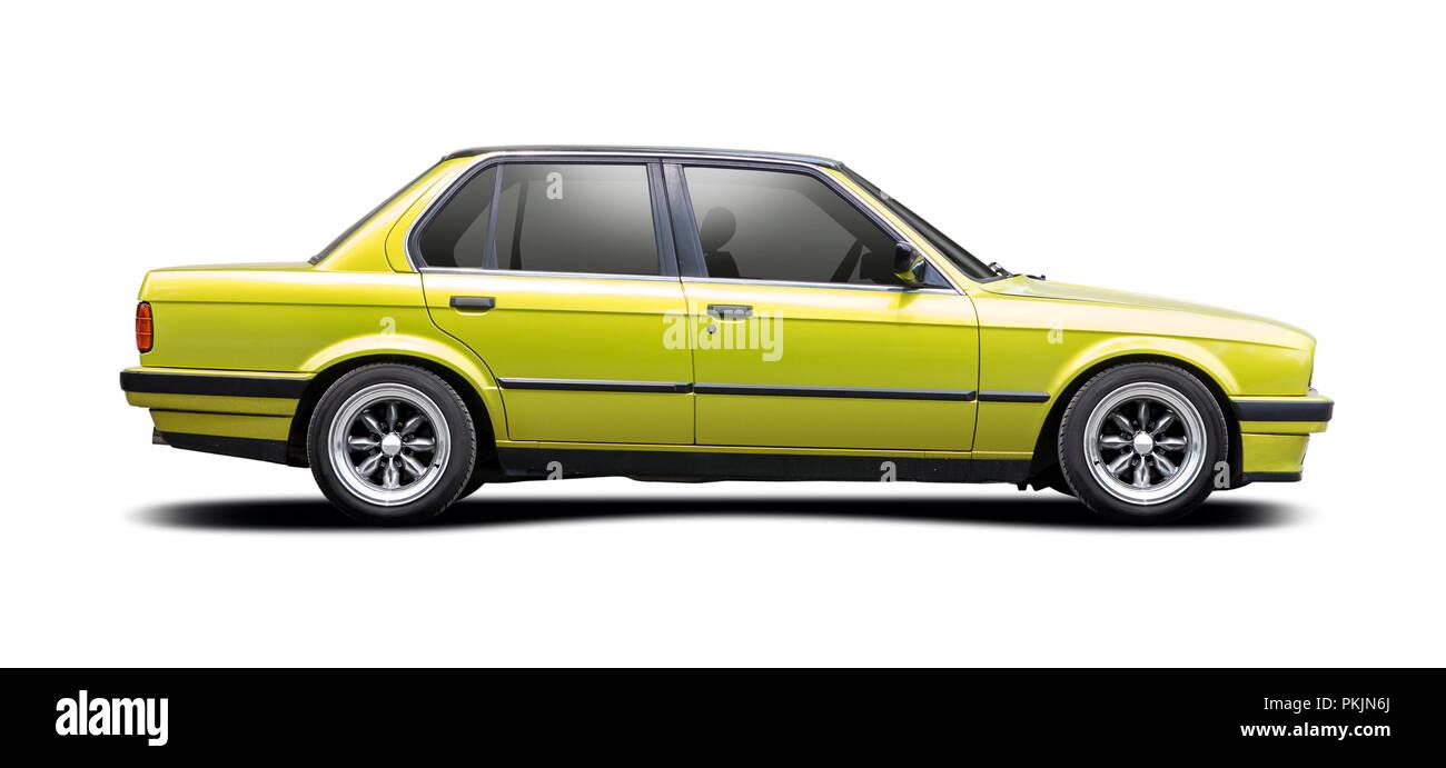Green sedan BMW series 5 isolated on white - Stock Image