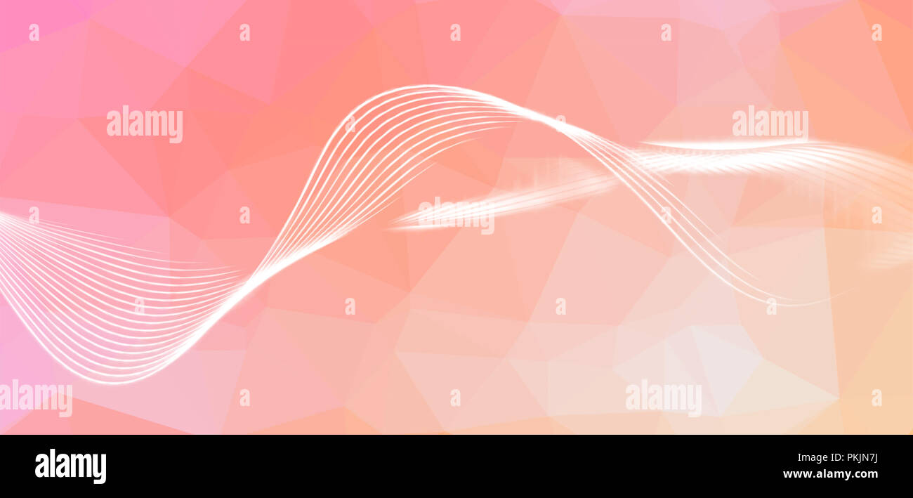 Flux effect waves. Dynamic motion blurred lines. Low poly background. Artistic polygonal illustration. Wide image - Stock Image