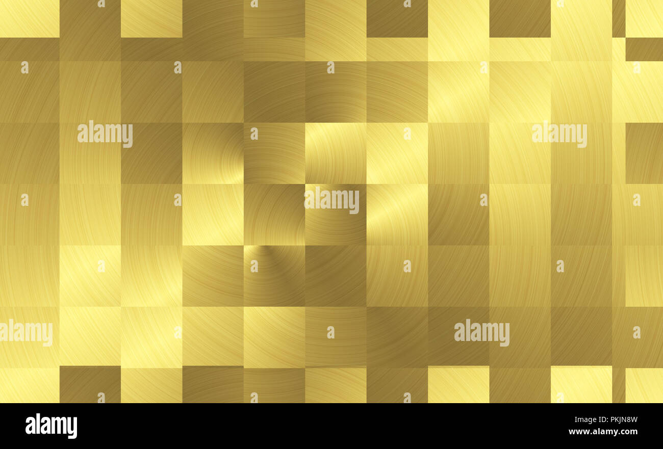 Square plates brushed gold metal surface. Reflective  gradient monochrome panel. Texture of metal. Abstract golden background - Stock Image