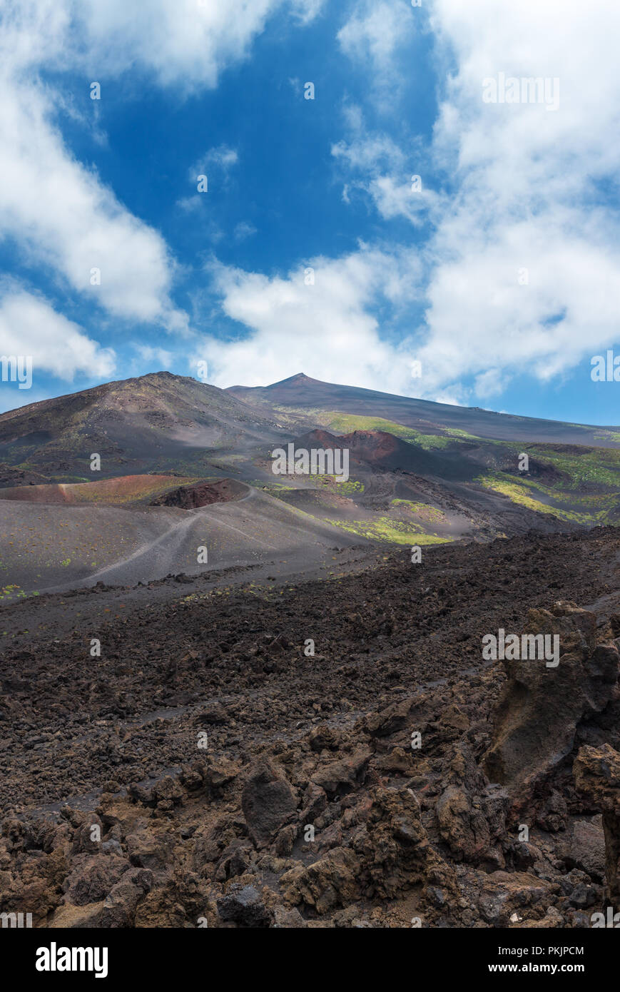Stony magma fields between summer Etna volcano mountain craters, Sicily, Italy. People unrecognizable. - Stock Image