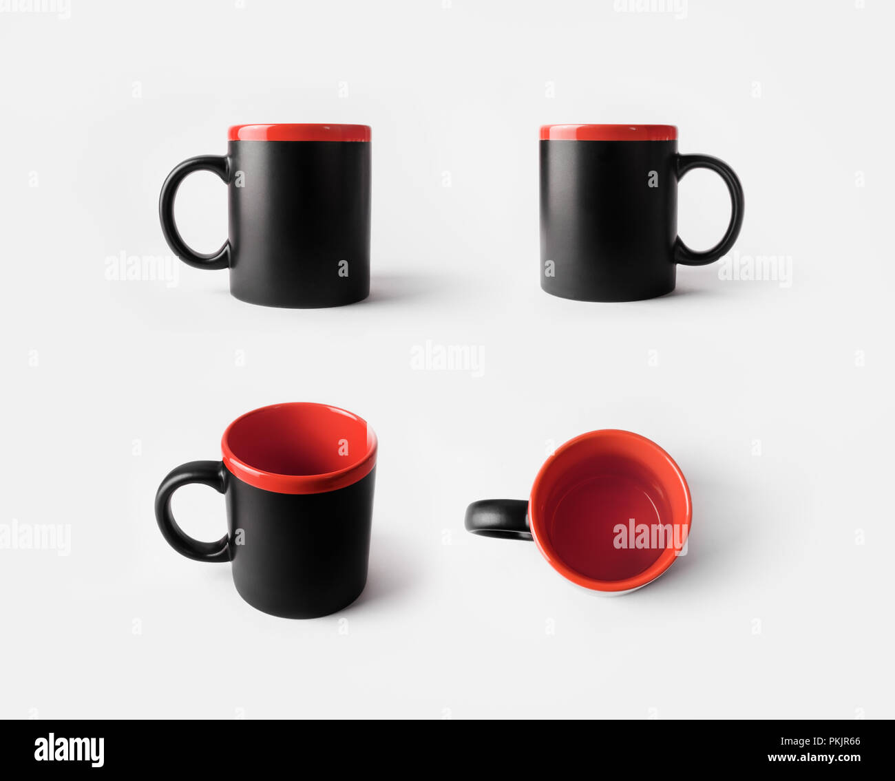 blank black and red ceramic cups mugs for coffee or tea responsive